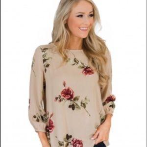 Tops - Apricot floral blouse